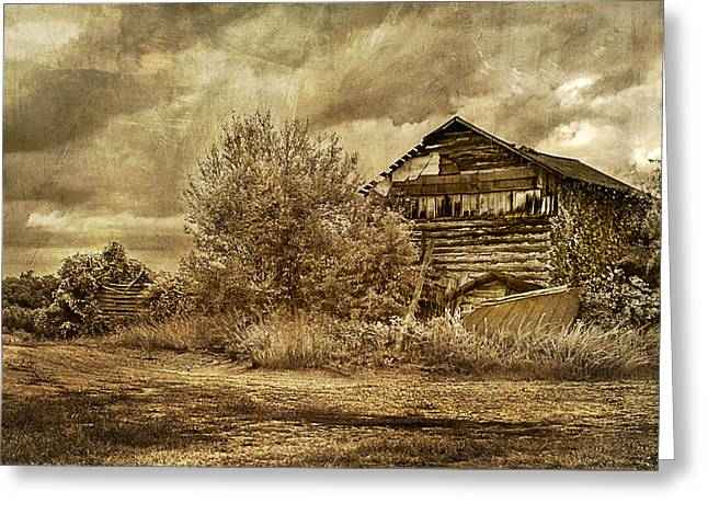 Run Down Digital Art Greeting Cards - Ramshacled tobacco barn Greeting Card by Lisa and Norman  Hall