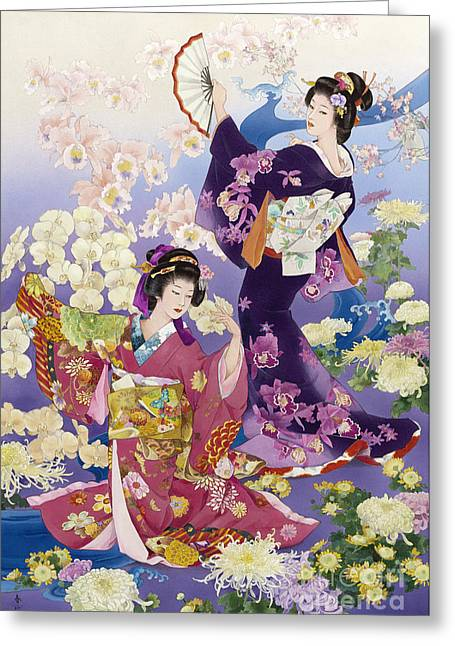 Art Print Digital Art Greeting Cards - Ran Kiku Greeting Card by Haruyo Morita