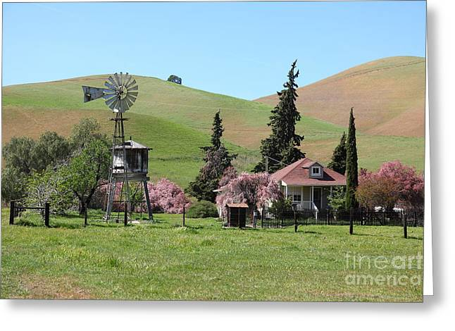 Windmill And Tree Greeting Cards - Ranch Along The Rolling Hills Landscape of The Black Diamond Mines in Antioch California 5D22330 Greeting Card by Wingsdomain Art and Photography