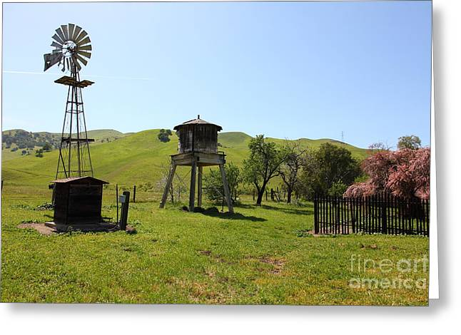 Windmill And Tree Greeting Cards - Ranch Along The Rolling Hills Landscape of The Black Diamond Mines in Antioch California 5D22337 Greeting Card by Wingsdomain Art and Photography