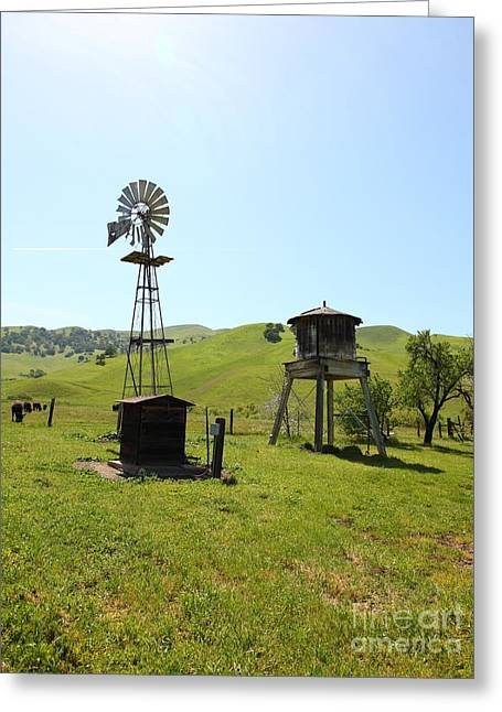 Windmill And Tree Greeting Cards - Ranch Along The Rolling Hills Landscape of The Black Diamond Mines in Antioch California 5D22338 Greeting Card by Wingsdomain Art and Photography