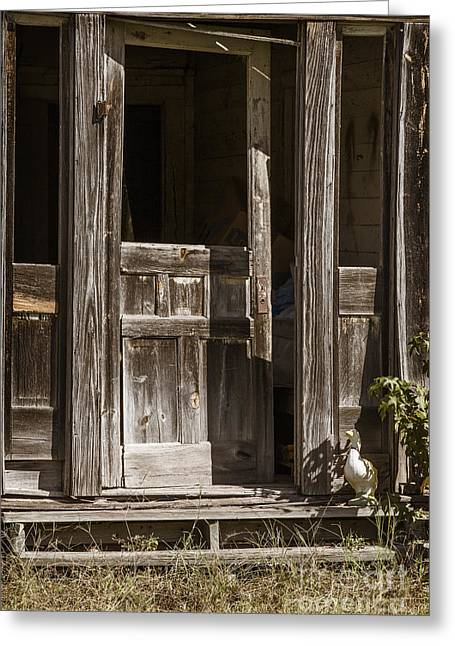 Old Cabins Greeting Cards - Ranch Cabin Old Door In Antique Color 3007.02 Greeting Card by M K  Miller