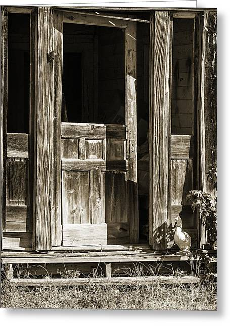Old Cabins Greeting Cards - Ranch Cabin Old Door In Sepia 3007.01 Greeting Card by M K  Miller
