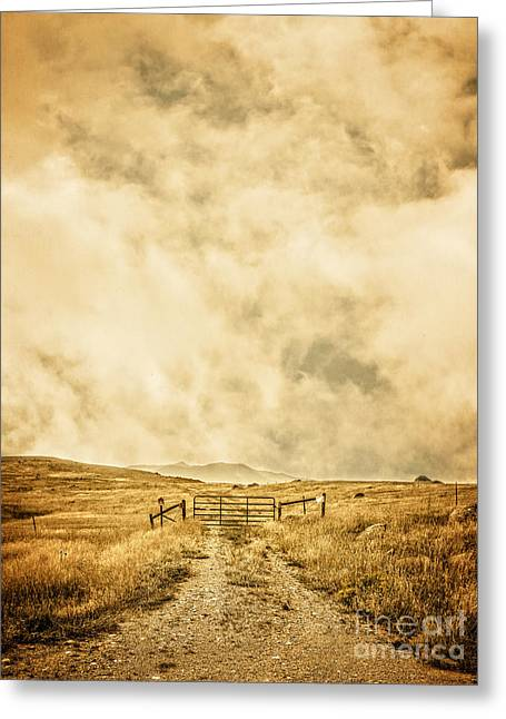 Storm Clouds Greeting Cards - Ranch Gate Greeting Card by Edward Fielding