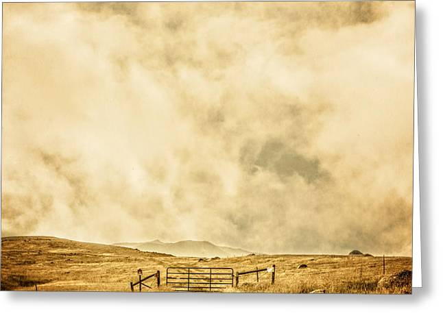 Ranch Gate Greeting Card by Edward Fielding