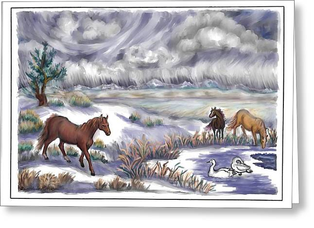 Snowstorm Drawings Greeting Cards - Ranch Horses and  Wild Swans Greeting Card by Dawn Senior-Trask
