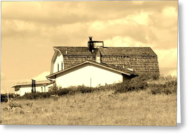 Ranch Pyrography Greeting Cards - Ranch House Greeting Card by Amanda Covey