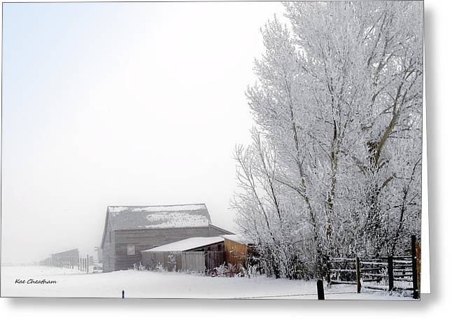 Outbuildings Greeting Cards - Ranch in Frozen Fog Greeting Card by Kae Cheatham