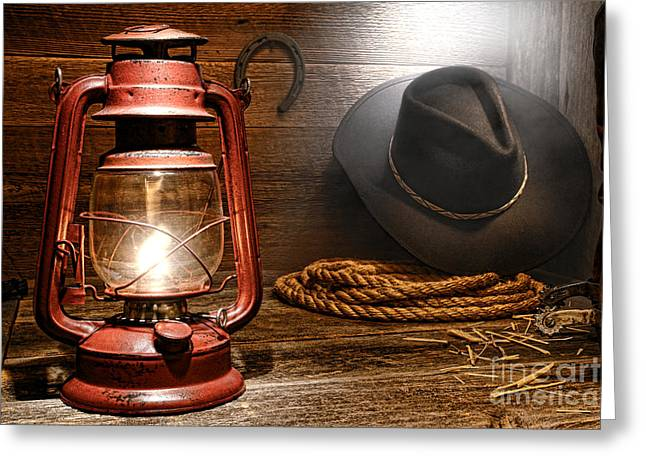 Kerosene Lamp Greeting Cards - Ranch Light Greeting Card by Olivier Le Queinec