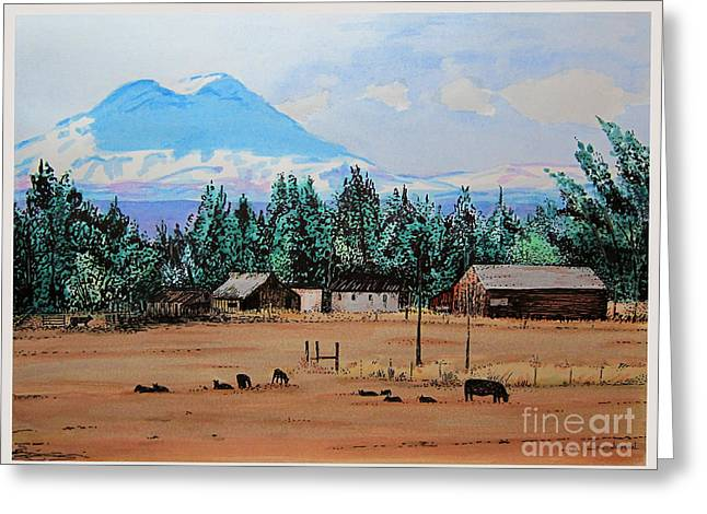 Barn Pen And Ink Greeting Cards - Ranch Near Sisters Oregon Greeting Card by Joseph Juvenal