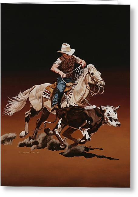Dogie Greeting Cards - Ranch Ropin Greeting Card by Hugh Blanding