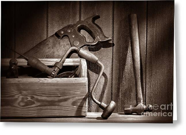 Saw Greeting Cards - Ranch Tools  Greeting Card by American West Legend By Olivier Le Queinec