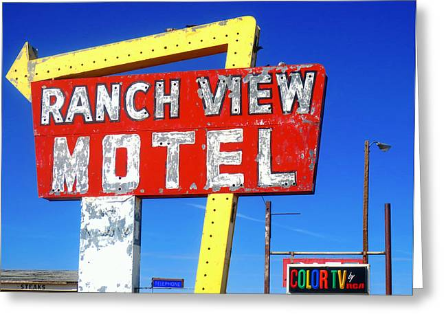 Ranch View Motel Greeting Card by Gia Marie Houck