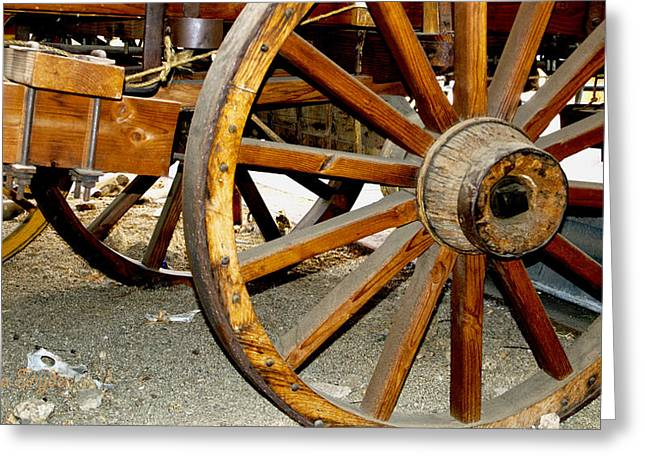 Original Cowgirl Greeting Cards - Ranch Wagon Wheel Greeting Card by Barbara Snyder