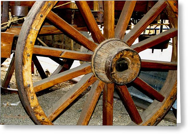 Original Cowgirl Greeting Cards - Ranch Wagon Wheel Close Up Greeting Card by Barbara Snyder