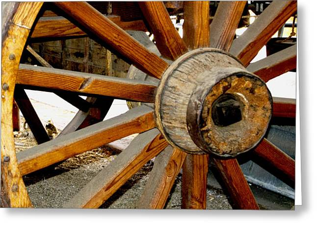 Original Cowgirl Greeting Cards - Ranch Wagon Wheel Detail Greeting Card by Barbara Snyder