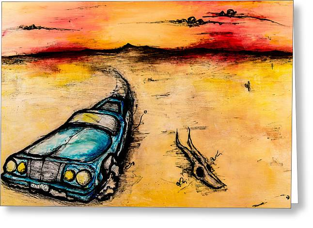 Illustrative Mixed Media Greeting Cards - Ranchero Escapism Greeting Card by Erica Seckinger