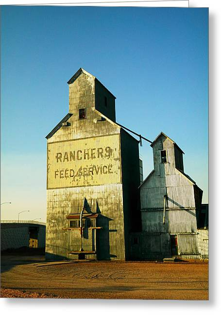 Grain Bin Greeting Cards - Ranchers Feed Service Greeting Card by Jeff  Swan