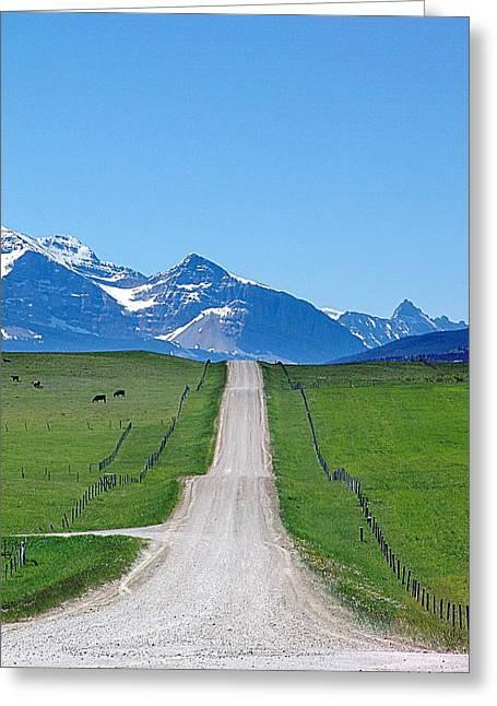 Gravel Road Mixed Media Greeting Cards - Ranchland Road Greeting Card by Janet Ashworth