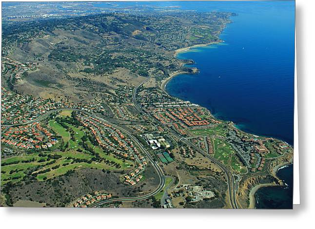 Pch Greeting Cards - Rancho Palos Verdes Aerial Greeting Card by Richard Hinds