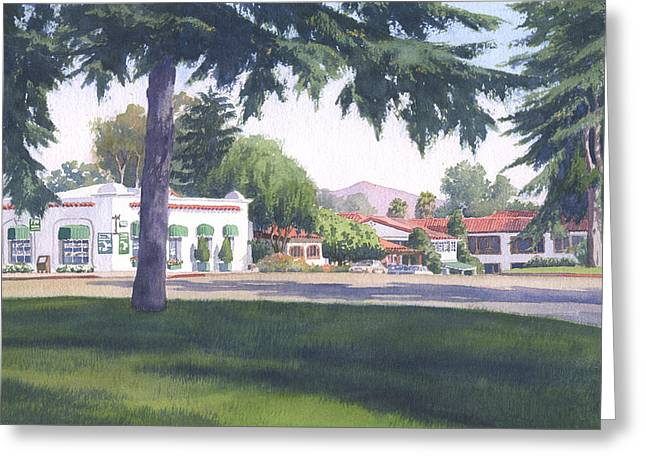 Sycamore Greeting Cards - Rancho Santa Fe Center Greeting Card by Mary Helmreich