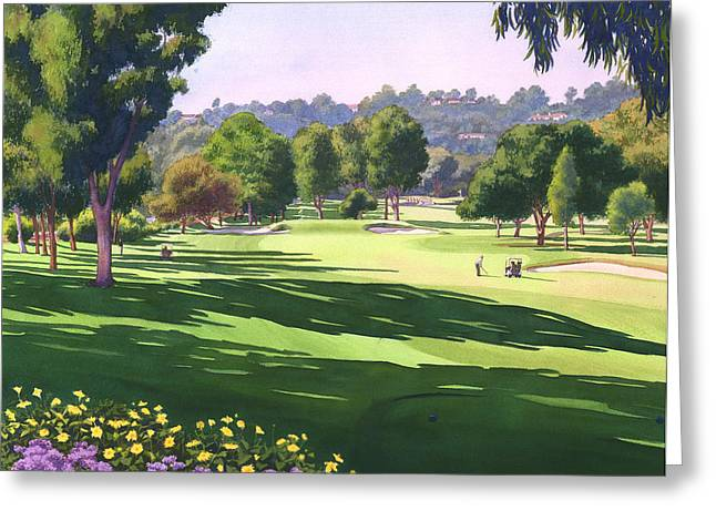 Fe Greeting Cards - Rancho Santa Fe Golf Course Greeting Card by Mary Helmreich
