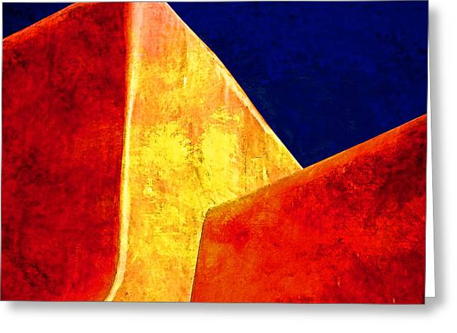 Taos Photographs Greeting Cards - Ranchos in Orange and Yellow Greeting Card by Carol Leigh