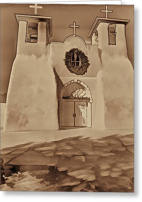 New Mexico Greeting Cards - Ranchos in Palladium Greeting Card by Charles Muhle