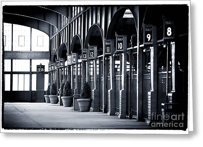 Black And White Train Track Prints Greeting Cards - Random Choices Greeting Card by John Rizzuto