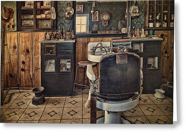 Straps Greeting Cards - Randsburg Barber Shop Interior Greeting Card by Priscilla Burgers