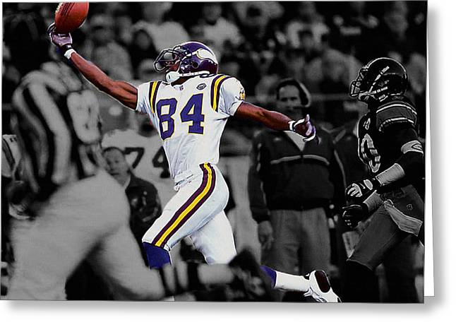 Randy Moss Greeting Card by Brian Reaves