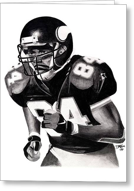 Randy Moss Drawings Greeting Cards - Randy Moss Greeting Card by Devin Millington