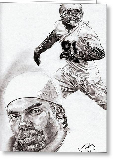 Pro Football Drawings Greeting Cards - Randy Moss Greeting Card by Jonathan Tooley