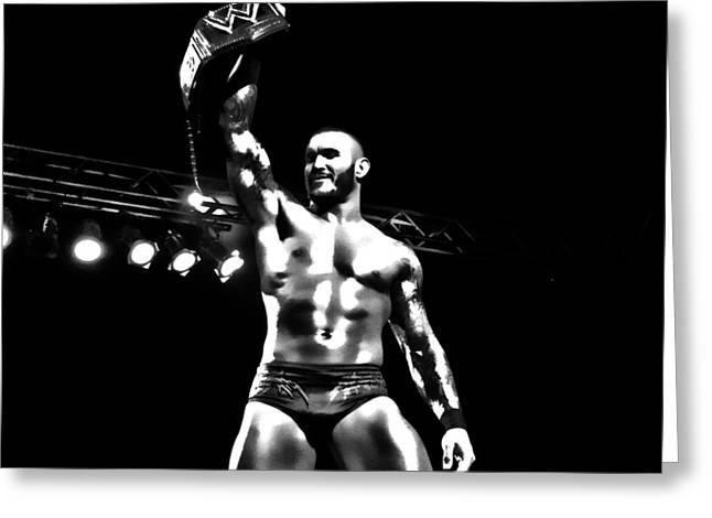 Randy Greeting Cards - Randy Orton BW HDR Greeting Card by Anibal Diaz