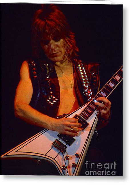 Daniel Photography Greeting Cards - Randy Rhoads at The Cow Palace in San Francisco - 1st Night of the Diary Tour Greeting Card by Daniel Larsen