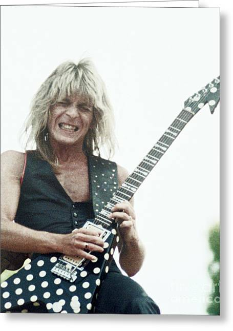 Release Greeting Cards - Randy Rhoads new release at the Green in Oakland-July 4th 1981 Greeting Card by Daniel Larsen