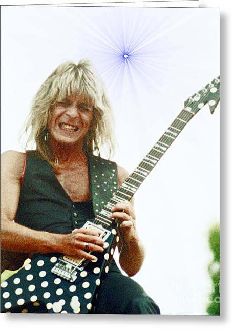 Recently Sold -  - Randy Greeting Cards - Randy Rhoads new release at the Green with Super Nova Effect - July 4th 1981 Greeting Card by Daniel Larsen