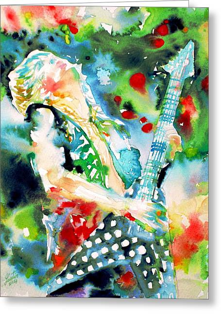 Randy Greeting Cards - RANDY RHOADS playing the GUITAR - watercolor portrait Greeting Card by Fabrizio Cassetta