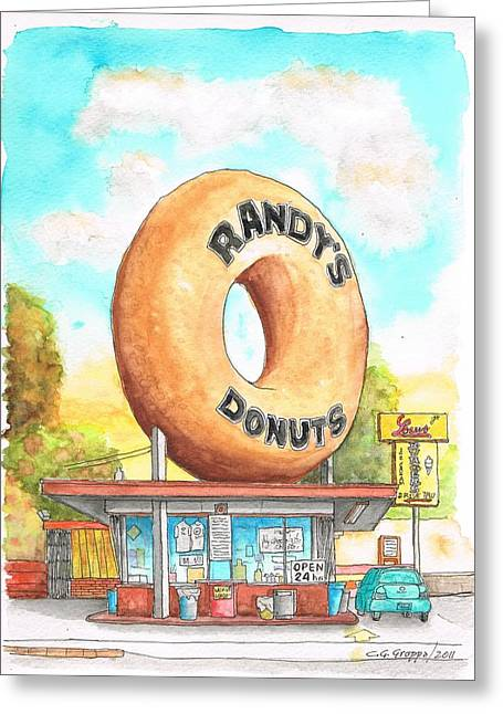 Acuarelas Greeting Cards - Randys Donuts in Los Angeles - California Greeting Card by Carlos G Groppa