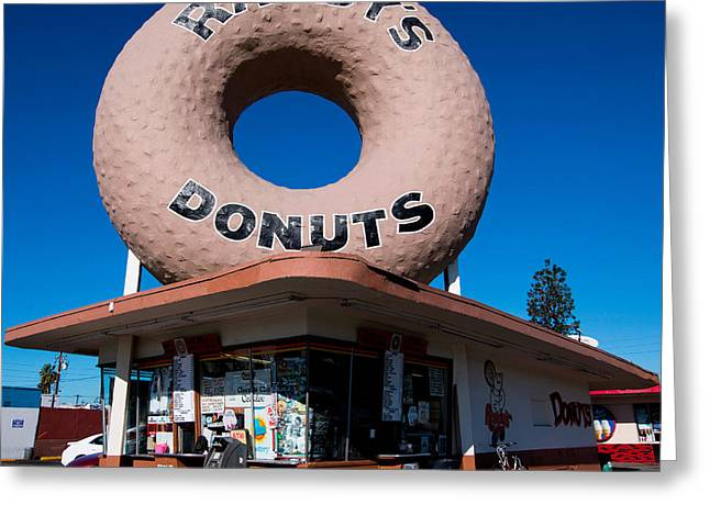 Texting Greeting Cards - Randys Donuts Greeting Card by Stephen Stookey