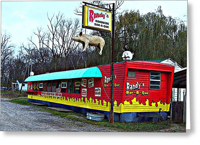Mj Greeting Cards - Randys Roadside Bar-B-Que Greeting Card by MJ Olsen