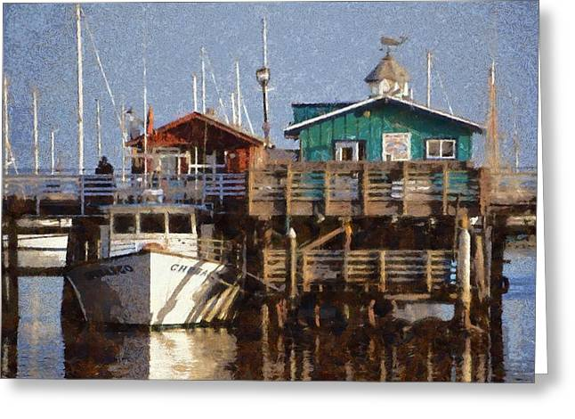 Masts Greeting Cards - Randys Whale Watching And Fishing Trips Watercolor Greeting Card by Barbara Snyder