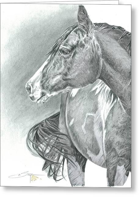 Painted Puppies Drawings Greeting Cards - Range Horse Greeting Card by Elizabeth Sage