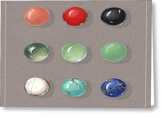 Gift Jewelry Greeting Cards - Range Of Ornamental Stones Greeting Card by Marie Esther NC