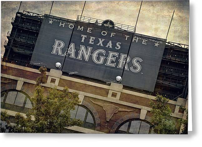 Window Signs Greeting Cards - Rangers Ballpark in Arlington Color Greeting Card by Joan Carroll