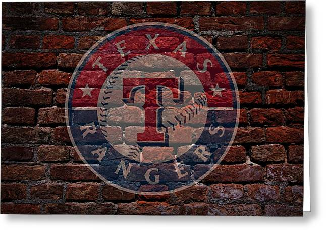 Baseball Print Greeting Cards - Rangers Baseball Graffiti on Brick  Greeting Card by Movie Poster Prints