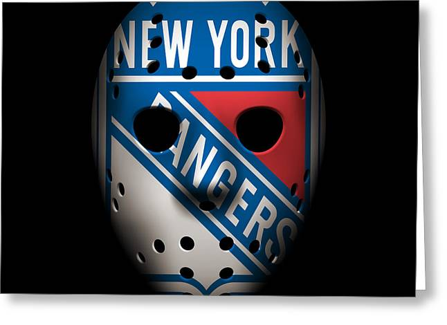 Ranger Greeting Cards - Rangers Goalie Mask Greeting Card by Joe Hamilton