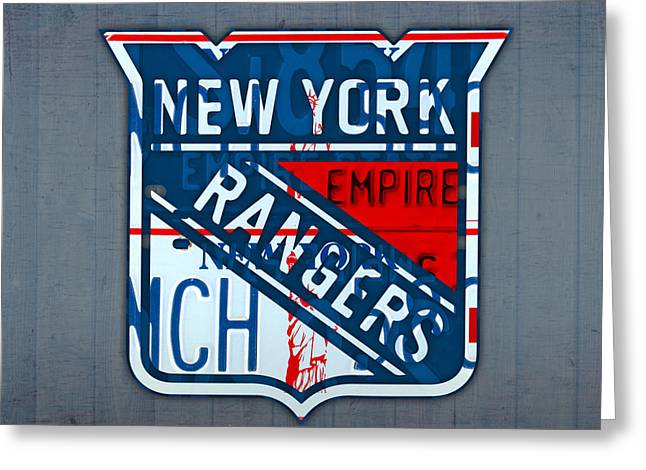 Ranger Greeting Cards - Rangers Original Six Hockey Team Retro Logo Vintage Recycled New York License Plate Art Greeting Card by Design Turnpike