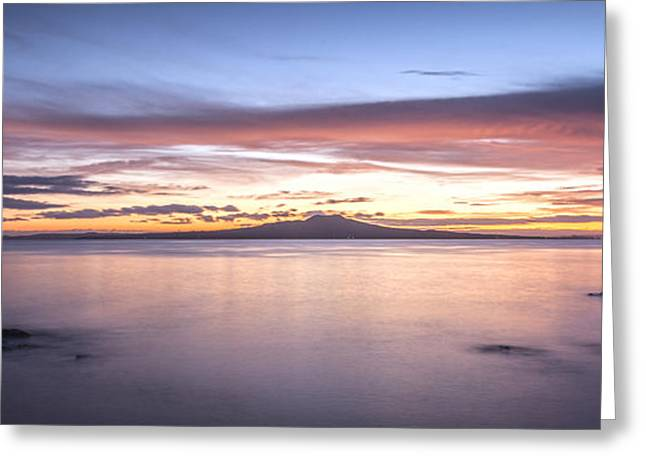 North Island Greeting Cards - Rangitoto Before Dawn Auckland New Zealand Greeting Card by Colin and Linda McKie