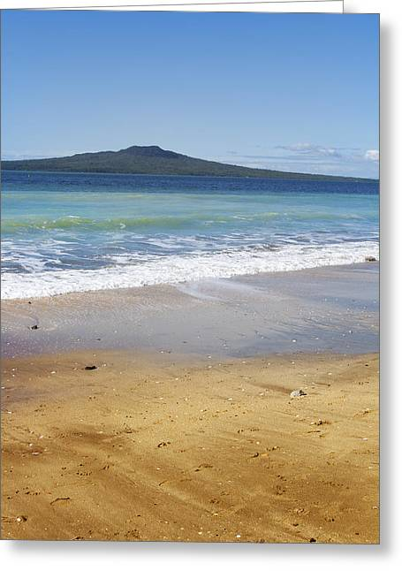 Rangitoto Greeting Card by Les Cunliffe